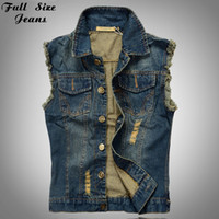 Wholesale Men Sleeveless Jean - Wholesale- 2016 Plus Size Men's Vest Jean Jacket Waistcoat Sleeveless Vintage Punk Casual Jacket New 4XL 5XL 6XL