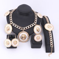 Wholesale Indian Girl Halloween Costumes - Unique Design Fashion African Costume Jewelry Sets Dubai Gold Color Jewelry Sets Rounded Enamel Lion Head Necklace For Women