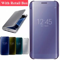 Wholesale Galaxy Note Case Blue - For Samsung Galaxy S8 S8Plus Note 8 S7 S6 Edge Smart Phone Case Mirror View Flip Leather Case for Samsung J7 Prime A520