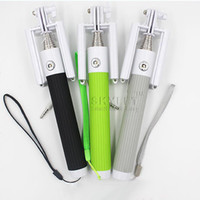 Wholesale Pole Rods - selfie Monopod Foldable all-in-one monopod with groove Cable Take Pole Self Timer Kit Extendable Monopod Handheld Selfie Stick Rod Wired