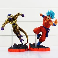 Wholesale Anime Figure Dragon Ball - 2Pcs  Set Anime Dragon Ball Z Super Saiyan Gokou Figure Gold Freeza Pvc Action Figures Toys Model Dolls 15Cm Approx