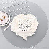Wholesale Baby Hedgehogs - Ins NEW ARRIVAL fall infant Kids Cotton Long Sleeve round collar hedgehog print Romper +bibs 100% cotton baby Climb spring autumn romper