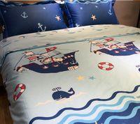 ingrosso set bianchi di biancheria da letto-Ragazzo di cartone animato in puro cotone per bambini Set di biancheria da letto per il nuoto in barca 4 pezzi, federa, gonna da letto Copripiumini