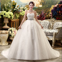 Wholesale Korean White Dress For Women - 2017 New High Waist Maternity Crystal Wedding Dress For Pregnant Women Long Trailing Nuptial Dress Korean Style Brides Dresses
