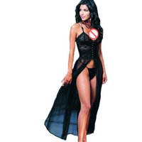 Wholesale Nightdress See Through - Wholesale hot selling sexy long nightdress for women, mysterious black color custom witch cosplay uniform,sexy see through dresses lingerie