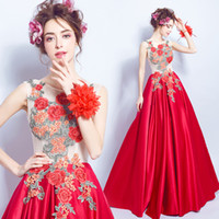 Wholesale Peony Flowers Pictures - Romantic 3d peony flower embroidery red Bride Wedding Toast long dress wedding satin communion dress