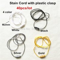 Wholesale Satin Cord Necklaces - Wholesale-(4 color) 40pcs 2mm Satin Cord with Safety Plastic Breakaway Clasps for DIY Silicone Baby Teething Pendant Necklace