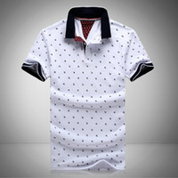 Wholesale Red Printing - New Mens Printed Polo Shirts 100% Cotton Short Sleeve Camisas Polo Stand Collar Male Polo Shirt M-3XL