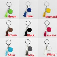 leere autoschlüssel großhandel-Emaille Monogramm Blank Samt Leder Quaste Schlüsselanhänger Frauen Tasche Anhänger Männer Auto Keychain Quatrefoil Monogrammed Wildleder Quaste Keychain