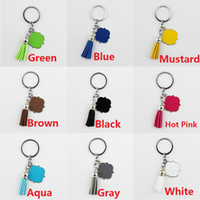 Wholesale Metal Blanks Pendants - Enamel Monogram Blank Velvet Leather Tassel Key Chain Women Bag Pendant Men Car Keychain Quatrefoil Monogrammed Suede Tassel Keychain