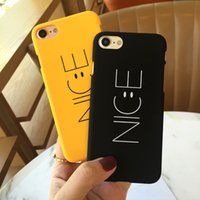 Wholesale Smile Letters - Smile Face Nice Letters Frosted PC Hard Phone Case for iPhone 7 6 Apple iPhone6 6S Plus 5S SE for Lovers Man Woman