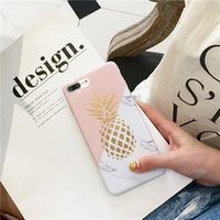 Wholesale Texture Iphone Tpu Case - Pineapple Phone Cases For iPhone 6 6S 7 7 Plus X Soft IMD Marble Texture Back Cover Coque
