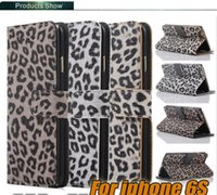 Wholesale Leopard Silicone Iphone Case - For Iphone 6s Samsung Note 5 Samsung S6 edge plus Leather Case Leopard Print Style Silicone Case Wallet Case Opp Package