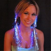 Wholesale Led Lights For Hair - Led Hair Flash Braid Hair Decoration Fiber Luminous Braid for Halloween Christmas Party Holiday Bar Dancing Light Bright Luminous Braid Hot