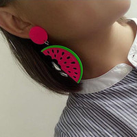 3Pairs Summer Creative Funny Acrylic Candy Banana / Watermelon / Pineapple Shaped Drop Earrings Pour Femmes Long Earrings Jewelry