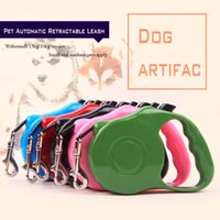Wholesale Pet Dog Cat Automatic - New All Seasons Nylon Material Push-button Pet Automatic Retractable Leashes Dog and Cat Are Suitable for Traction Rope 3M 5M 5color