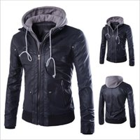 Wholesale Wholesale Leather Jackets Clothing - Motorcycle Leather Coats Men Leisure Jackets Youth Casual Jumper Slim Winter Overcoat Fashion Outerwear Top Outerwear Men's Clothing B3333