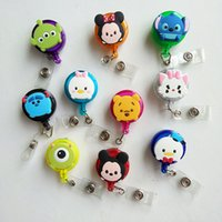 Wholesale Hospital Gifts - Promotional gifts 10pcs Cute More Colors Cartoon Retractable Badge Reel Pull ID Card Badge Holder Belt Clip Hospital School Office