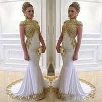 Wholesale Chiffon Stretch Satin - Stunning White and Gold Long Mermaid Evening Party High Neck Cap Sleeve Beaded Lace Appliques Stretch Satin vestido de festa longo