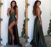 Wholesale Formal Gown Long Stretch - Newest Sexy V-Neck Green Long Evening Dresses Stretch Satin Side Split Formal Evening Gowns Prom Dresses Vestido De Noite Party Dresses