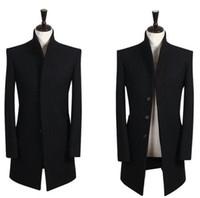 Wholesale Mens Woolen Long Coats - Wholesale- British style teens Men's winter coat stand Collar black woolen coat mens Brand essence Single-breasted mens pea coat S - 9XL