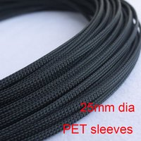 Wholesale 25mm dia PET Material weaving flexible nylon net wire cable protection sleeves about meters