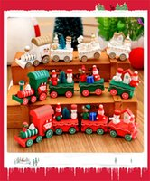 Wholesale Toy Wooden Christmas Tree - Toys For Children Xmas Wooden Train Kids Christmas Gifts Snowman Santa Tree 4 Segments Innovative Train Christmas Model Toys