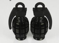 Black Free Shipping Car Auto Bike Metal Grenade Design Tire Tire Valve Dust Valve Caps