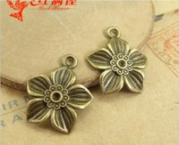 Wholesale Production Jewelry - 19*22MM Yiwu jewelry accessories zinc alloy, metal retro five petals flower charms decorative ornaments, DIY production material