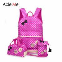 Wholesale School Bags Girls Princess - 3pcs set Lovely Children Bags 2017 New Fashion Bow Design Backpack Princess School Kids Backpack for Girls And Boys