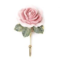 Vente en gros - 2pcs Lovely Rose Decor Miroir de serviette monté sur le mur Cute Cloud Adhésif Sticky Stick Holder Pink Kitchen Bathroom Towel Hangers