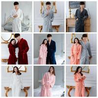 Wholesale Night Wear Robe - Fleece Warm Bathrobe Women Men Coral Soft Flannel Winter Kimono Bath Robe Night Gown Spa Wear 11 Colors OOA3114