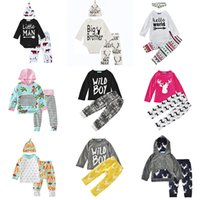 conjunto de terno de bebê menino inverno venda por atacado-Conjuntos de Roupas de bebê 29 Cores Meninos Meninas Inverno Primavera Outono Casuais Ternos Camisas Calças Chapéu Infantil Outfits Crianças Tops Shorts 0-24 M