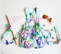 Wholesale Baby Denim Pants Suspenders - INS Baby Clothes New Floral Printed Suspender Shorts Summer Fashion Flower Toddler Mini Shorts Cute Kids Hot Pants C1348