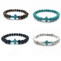 Wholesale Tiger Eye Prayer Beads Bracelet - Hot Natural Lava Tiger eye Stone Prayer Beads Charms Bracelets Anti-fatigue Turquoise Cross Volcanic Rock Men's Women's Diffuser Jewelry
