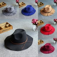 Wholesale Womens Wide Brim Fedora Hat - Vintage Womens Ladies Fashion Large Wide Brim Bowknot Wool Hat Retro Felt Fedora Cloche Bowler Cap Winter Panama Sun Hat