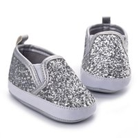 Wholesale Sparkly Shoes Wholesale - Wholesale- Silver Sparkly Baby Boy Shoes Infant Girl Shoes Footwear Fashion Bling Bling Soft Sole Toddlers Loafers Sapato Baby 2017