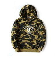 Wholesale Popular Fashion Hoodies - Tide Brand Men's Green Camo Hoodies Japanese Popular Logo Pullover Hoodies Lettle Printed Cotton Sweatshirts Vintage Style Coats