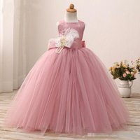 Wholesale Real Photo Peach Dresses - 2017 Real Photos Peach Flower Girl Dresses Feather First Communion Gowns Long Baptism Cheap Little Kids Formal Wear Girls Pageant Dresses