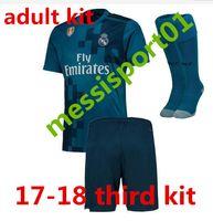 Wholesale Soccer Jersey Set Football - 17 18 Real madrid men kit soccer jersey third blue adult kit with sock RONALDO ASENSIO BALE RAMOS BENZEMA 2017 2018 new football shirtS set
