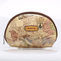 Wholesale Map Print Bags - Wholesale- New Fashion PVC Makeup Purses World Map Print Mini Cosmetics Storage Bag for Girls Oval Zipper Wallet Vintage Key Change Pouch