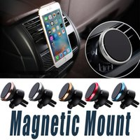 Wholesale Moblie Phone Holders - Magnetic Cell Phone Car Mounts 360 Degree Rotation Moblie Phone Holders With 6 magnetic-iron Universal Bracket