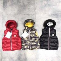 Wholesale Kid Sleeveless Jacket - Light Hooded Baby Down Waistcoat WeskitLuxury Mon Brand Design Baby Down Sleeveless Jacket Warm Winter Zipper Closure Kids Outwear