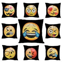 Wholesale Wholesale Face Pillows - New Double Color Emoji Sequins Pillow Case Fashion Face Expression Pillow Covers Home Decor Sofa Car Cushion Bright Covers Decor WX-P12
