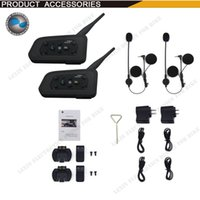Wholesale Helmets Intercom Mp3 - 2017 New 2PCS 1200M Motorcycle Bluetooth Helmet Intercom for 6 riders BT Wireless intercomunicador Interphone Headsets MP3