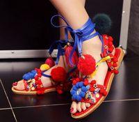 Wholesale Roman Sandals Style Shoes - Fashion hair bol sandals l women lace up flat sandals roman style colorful girl summer shoes
