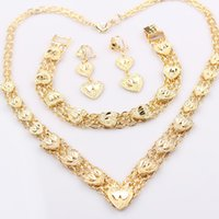 Wholesale Gold Filled Womens Necklace - Pretty Heart Necklace + Earrings + Bracelet Set 24K Yellow Gold Filled Solid Womens Wedding Perfect Gift 64g