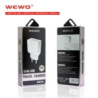 entrada usb para iphone venda por atacado-Carregadores de telefone do banco de potência Wewo 2.4A 2 em 1 carregador usb dupla Entrada de 110V-240V AC adaptador de tomada da UE em casa usando branco