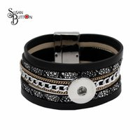 Wholesale Magnetic Gifts For Men - Fashion 6pcs lots Snap Button Bracelet Fits 18mm Snap Button Charms Multilayer Leather Bracelet Magnetic Buckle Bracelet for Men Women