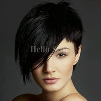 Wholesale 6inch human hair resale online - 6inch Human hair short cut None bob lace wigs with bangs with natural hairline with strap at the back